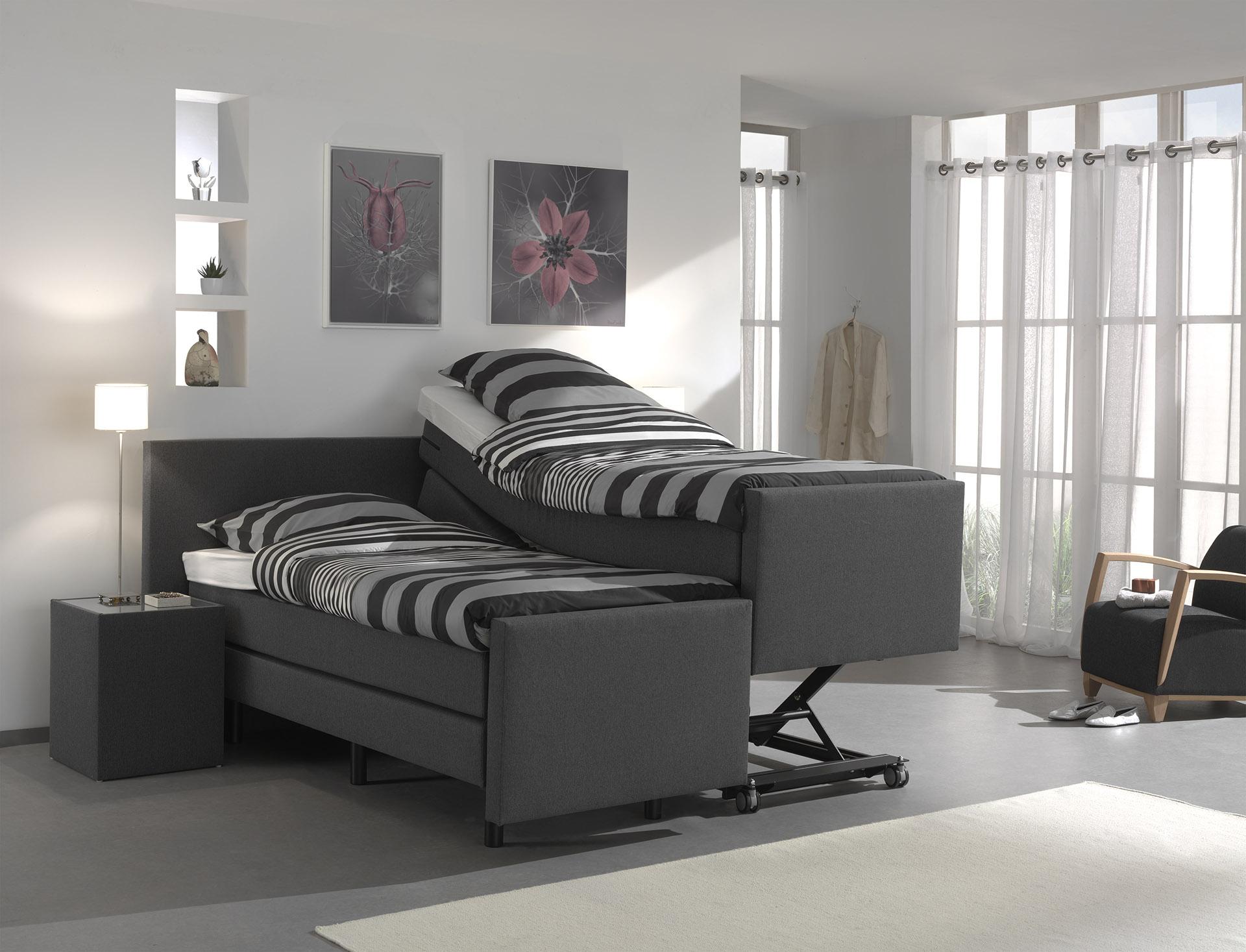 hoog laag boxspring cura de slaapfabriek. Black Bedroom Furniture Sets. Home Design Ideas